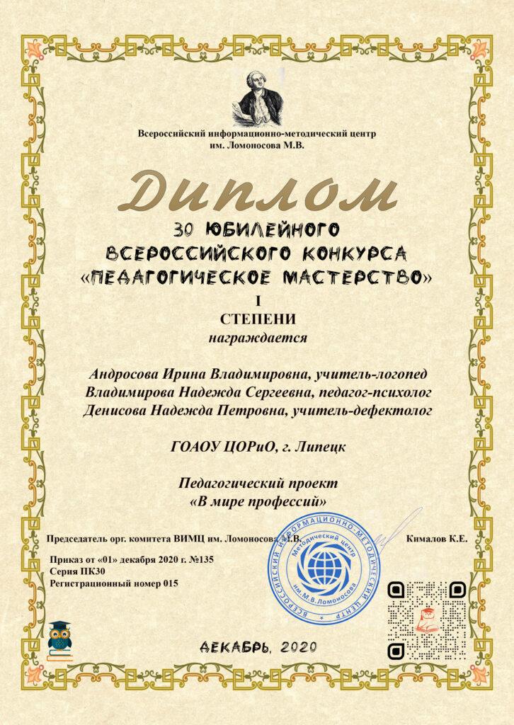 Участие в XXX Юбилейном Всероссийском конкурсе